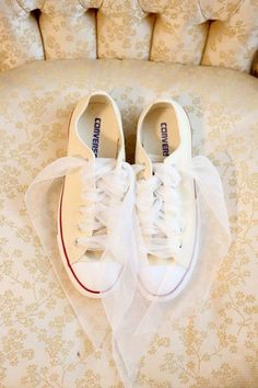 Converse with Tulle Chiffon Laces | Weddings Illustrated