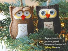 """We can't get enough of these handmade felt ornaments from the inspiring book """"Fa la la la Felt: 45 Handmade Holiday Decorations."""" These incredible owl Christmas tree decorations and so simple. What makes these special is the close attention to detail seen in the stitching and button eyes."""