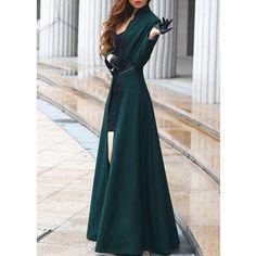 Rotita Fabulous Mandarin Collar Ankle Length Trench Coat Green