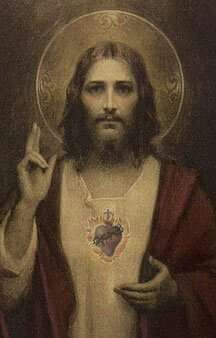 """Glossy full-color print of the Sacred Heart of Jesus image suitable for framing.""""Sacred Heart of Jesus"""" was created by American artist Charles Bosseron Chambers Visionary mystical art Image Jesus, Jesus Christ Images, Religious Images, Religious Art, Jesus E Maria, Jesus Christus, Jesus Face, Mary And Jesus, Heart Of Jesus"""