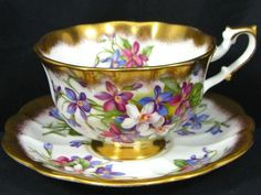 ROYAL ALBERT GOLD CREST SERIES VIOLETS TEA CUP AND SAUCER | eBay