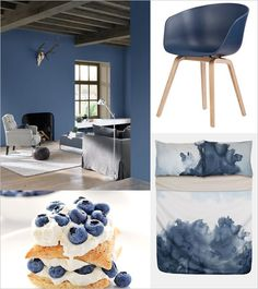 Monday Mood: Blueberry Dream // Paint color 'Blueberry Dream' by Flexa About a Chair by Hay (via Blueberry Lemon Napoleon dessert Bed linen by Nordstrom