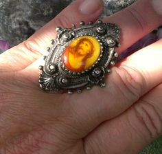 SOLD VINTAGE Art Deco Nickel Silver Jesus Christ Crown of Thorns Cameo Ring MEXICO ?