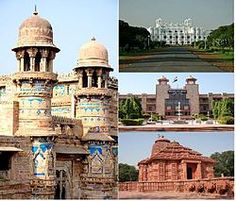 Clockwise from left:Gwalior Fort, The Jai Vilas Palace, High Court and Sun Temple
