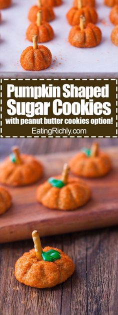 It's so easy to make these cute pumpkin shaped sugar cookies without a cookie cutter. You can even use refrigerated sugar or peanut butter cookie dough! From http://EatingRichly.com