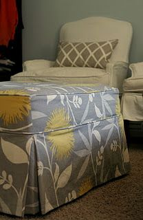 Slip cover for the ottoman.  The print won't work for the room, but construction is PERFECT!