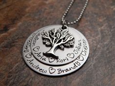 Family Tree Necklace - Mother's Necklace - Layered Pendant with Tree Charm - Personalized Necklace