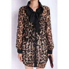 Cheap Wholesale Fashionable Bow Collar Leopard Print Single-Breasted Color Splicing Long Sleeves Irregular Women's Dress (LEOPARD,ONE SIZE) At Price 15.18 - DressLily.com