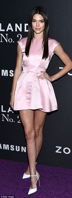 Strike a pose: Reality star Kendall Jenner, 20, donned a pastel pink mini dress and white ...