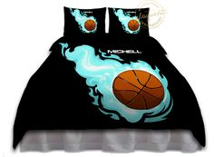 Basketball Bedding for Kids - Black & Tuquoise Flames Duvet Cover - Basketball Bedding - Personalized #210 by EloquentInnovations on Etsy