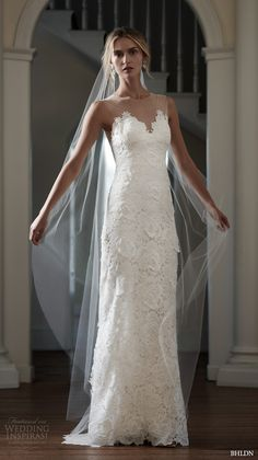 BHLDN Spring 2016 #Bridal gowns beautiful sheath #wedding dress scallop sweetheart neckline floral lace embroidery sheer jewel neckline style elvie  #weddinggown #weddingdress