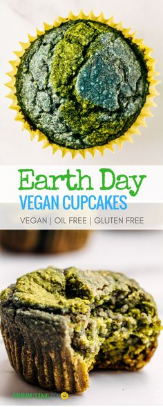 A fun and easy way to celebrate EARTH day! Vegan cupcakes that are oil free, refined sugar free, and gluten free! #VEGAN #PLANTBASED #EARTHDAY via @sproutingzeneats