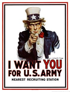 "Code (Condense). Found via the web. The images of Uncle Sam and the text of ""I want YOU for the U.S. Army combined gives a more deeper meaning. Instead of just a guy wanting you to enlist its Uncle Sam, standing for the whole United States."