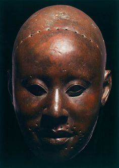 """Mask called """"Obalufon"""", 14th-early 15th century  copper"""