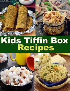 Kids Tiffin Box recipes, Kids Tiffin Snack Recipes, Tarla Dalal - Snack Meals For Kids Toddler Lunch Recipes, Lunch Box Recipes, Healthy Meals For Kids, Baby Food Recipes, Indian Food Recipes, Kids Meals, Healthy Snacks, Snack Recipes, Easy Meals