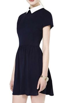 Contrast Collar Short Sleeve Dress with Gathered Waist