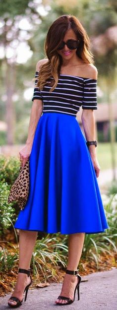 Everyday New Fashion: Blue Midi Skirt With Stripe Rib Knit Crop Top