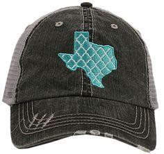 Gray & Turquoise Lattice Texas Trucker Hat