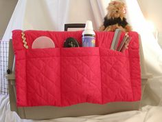 SEW IDEA: sew pockets to hang over dog crate