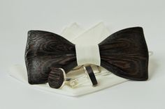 Wedding wooden bow tie with pocket square + Wooden Cufflinks. Black wood bow tie and cufflinks. Best idea for gift. by woodton on Etsy