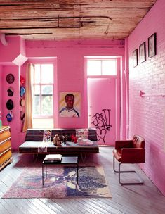 Pink living rooms, including pastel pink decor, blush pink living rooms, hot pink room ideas, plus pink furniture and pink living room accessories. Living Room Interior, Living Room Furniture, Room Interior Design, Living Room Decor, Living Rooms, Color Interior, Loft Furniture, Furniture Outlet, Living Room Colors