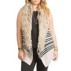 Bb Dakota Plus Faux Fur-Collared Tribal Knit Vest ($125) ❤ liked on Polyvore featuring plus size fashion, plus size clothing, plus size outerwear, plus size vests, ivory, plus size, plus size womens vest, sleeveless waistcoat, bb dakota vest and ivory vest