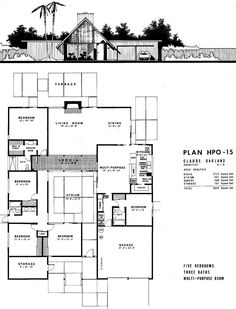Joseph Eichler Floor Plans The model citizen: the garage - Joseph Eichler Floor Plans The model citizen: the garage - Modern Floor Plans, Modern House Plans, House Floor Plans, Joseph Eichler, The Plan, How To Plan, Atrium House, Courtyard House, Eichler Haus