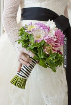 """Sweet! - """"My mom suggested including mint in the bouquet,"""" says Sarah. """"She knows I get stressed easily and thought the fragrance would help me relax."""" W. Scott Chester Photography. 