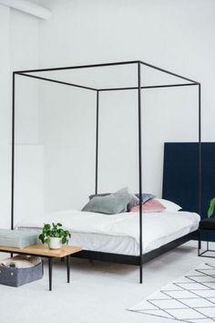Łóżko z baldachimem ETON/ ETON bed with a canopy 4 Poster Bedroom, Four Poster Bed, Canopy Frame, Bed Frame, Porche, Black Bedding, Apartment Design, Decoration, Home Furniture