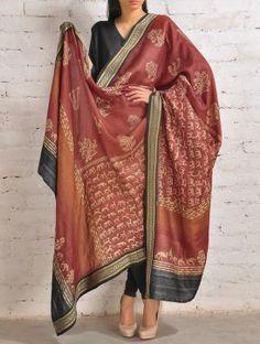 Red-Black Bhandara Tussar Silk Dupatta