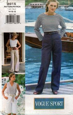 Vogue 8915 Womens EASY Wide Legged Shorts or Pants Denim Jeans 90s Vintage Sewing Pattern Size 14 16 18 UNCUT Factory Folded