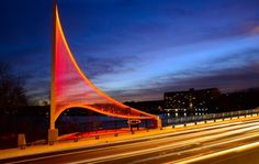 """These sculptural sails on the Burns Memorial Bridge in Worcester MA, are made up of over 2000 Ronstan ABS2 Balustrade 1/4"""" cables illuminated by LED lights"""
