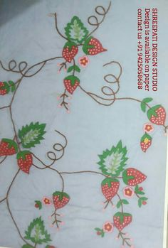 SHREEPATI DESIGN STUDIO This design is available on paper or books For more details kindly contact us +91 9425058688. Embroidery Stitches, Hand Embroidery, Embroidery Designs, Wild Strawberries, Design Studio, Strawberry, Paper, Strawberry Fruit, Strawberries