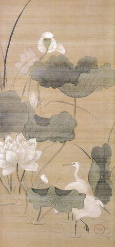 Title:蓮池白鷺図(四季草花図 押絵貼 左隻) White herons in a lotus pond Artist:喜多川相説 Kitagawa…