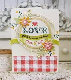 Stitched Sentiments Revisited: Love You To The Moon Card by Melissa Phillips for Papertrey Ink (January 2016)