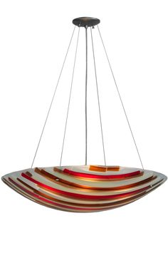 """30 Inch W Metro Fusion Marina Glass Inverted Pendant. 30 Inch W Metro Fusion Marina Glass Inverted Pendant Theme:  ART GLASS CONTEMPORARY Product Family:  Metro Fusion Marina Product Type:  CEILING FIXTURE Product Application:  INVERTED PENDANT Color:  AMBER/BEIGE/SMOKE/IRID/RED 4 X 7/16"""" HOLES Bulb Type: MED Bulb Quantity:  4 Bulb Wattage:  100 Product Dimensions:  16-66H x 30WPackage Dimensions:  33.250L x 33.250W x 21.750HBoxed Weight:  21.5 lbsDim Weight:  NAOversized Shipping…"""