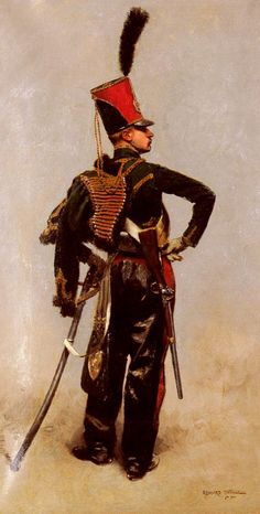 Édouard Detaille  (French, 1848-1912) Another swaggering, impossible French cavalry uniform from this artist who specialised in military subjects.