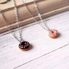 Cute Pink Sprinkle Doughnut Necklace Handmade by ElfiHandmade