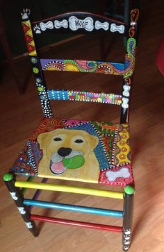 Yellow lab painted chair.