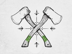 Hatchets designed by Chris Green. Connect with them on Dribbble; Kritzelei Tattoo, Tattoos 3d, Tattoo Motive, Tattoo Drawings, Body Art Tattoos, Sleeve Tattoos, Tattoos For Guys, Cool Tattoos, Tatoos