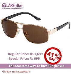 Farenheit Superb 962 Golden Brown C1 Square Sunglasses http://www.glareaffair.com/sunglasses/farenheit-superb-962-golden-brown-c1-square-sunglasses.html  Brand : Farenheit  Regular Price: Rs1,699 Special Price: Rs999  Discount : Rs700 (41%)