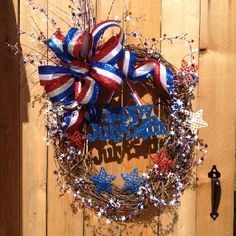 Happy July 4th or any other patriotic holiday/Olympics...center piece is removable!  One of my newest wreath designs!