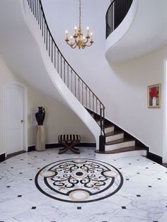 Entry Stair Hall with marble floor - traditional - entry - new york - Felhandler/ Steeneken Architects