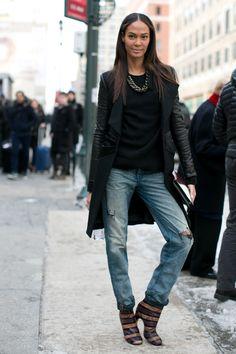 Joan Smalls street style at New York Fashion Week