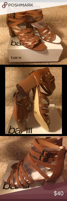 """Bar lll Dark Tan Sandals Dark tan sandals with buckles on the sides and a zipper in the back with 3"""" heels. Size 9.New in box. Bar III Shoes Sandals"""