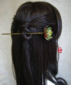 Gradually changes in color the blue water lily/Lotus hair stick/hair comb/ Bridal headpieces/ Kanzashi/hair clip/hair slide/asian tradition