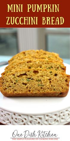 This is the best zucchini bread recipe! Here we offer three wonderful ways to make zucchini bread; with applesauce, with melted butter, or with pumpkin purée. Delicious and so easy to make, this mini bread loaf is made with one zucchini and is ideal for serving one or two.| One Dish Kitchen #pumpkinbread #zucchinibread #smallloaf Classic Zucchini Bread Recipe, Pumpkin Zucchini Bread, Best Bread Recipe, Zucchini Bread Recipes, Baking With Applesauce, Unsweetened Applesauce, Cooking For One, Meals For One, Kitchen Dishes