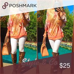 🌰Style🌰 Chic classy and O so fabulous Orange printed t/blouse. Polyester! Gorgeous! Style & Co Tops