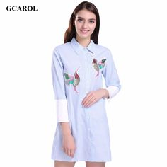 GCAROL Women Oversized Sequined Embroidered Birds Blouse Cotton Blends 3/4 Sleeve High-end Striped Long Shirt For 4 Season