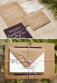 kraft paper + twine invites  Like the way they are wrapped.
